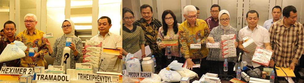 Konferensi Pers Badan POM bersama Bareskrim POLRI terkait Temuan 5 Gudang Produksi dan Distribusi Obat Ilegal di Balaraja, Tangerang - 6 September 2016