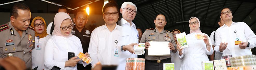 Badan POM temukan 4 item Kosmetik Ilegal berupa sabun padat, beserta bahan baku dengan nilai keekonomian mencapai 5 miliar rupiah, Tangerang - 27 April 2017